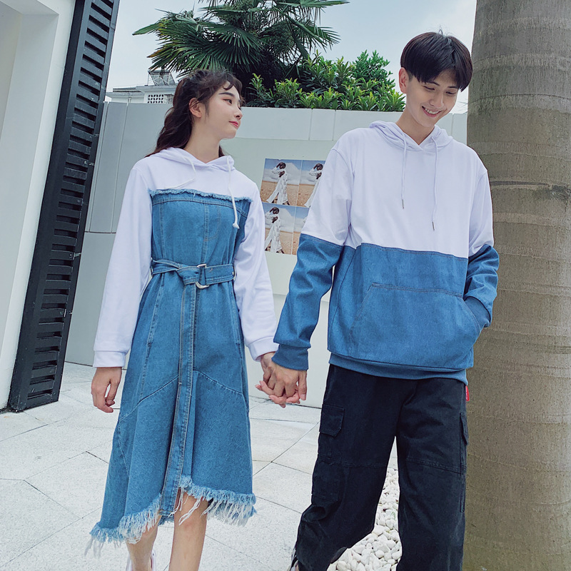 Christmas Couple Denim Hoodie Clothing College Fashion Korean Style Lovers Women Dress Family Look Matching Clothes Outfit Wear