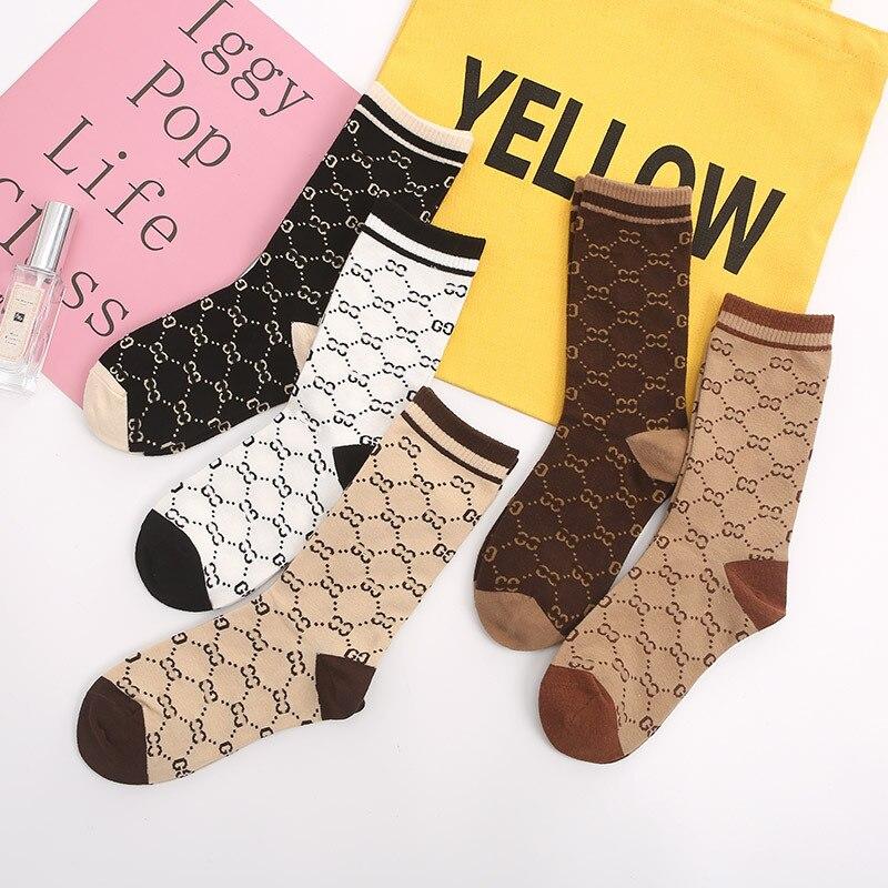 Осенне-зимние новые женские носки с буквенным принтом японские и корейские чулки хлопковые носки в корейском студенческом стиле