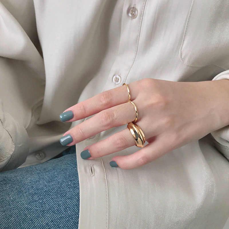 F.I.N.S מינימליסטי S925 סטרלינג כסף טבעת תוספות פשוט מוביוס עדינה מעוות תכשיטי שני גוונים פתוח דק טבעת כסף 925 טבעת