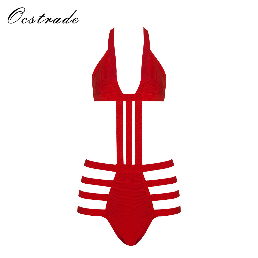 2017 Woman Summer Swimsuit New Arrival V Neck Sexy Cut Out Beach Bandage Swimwear Black Nude Red image