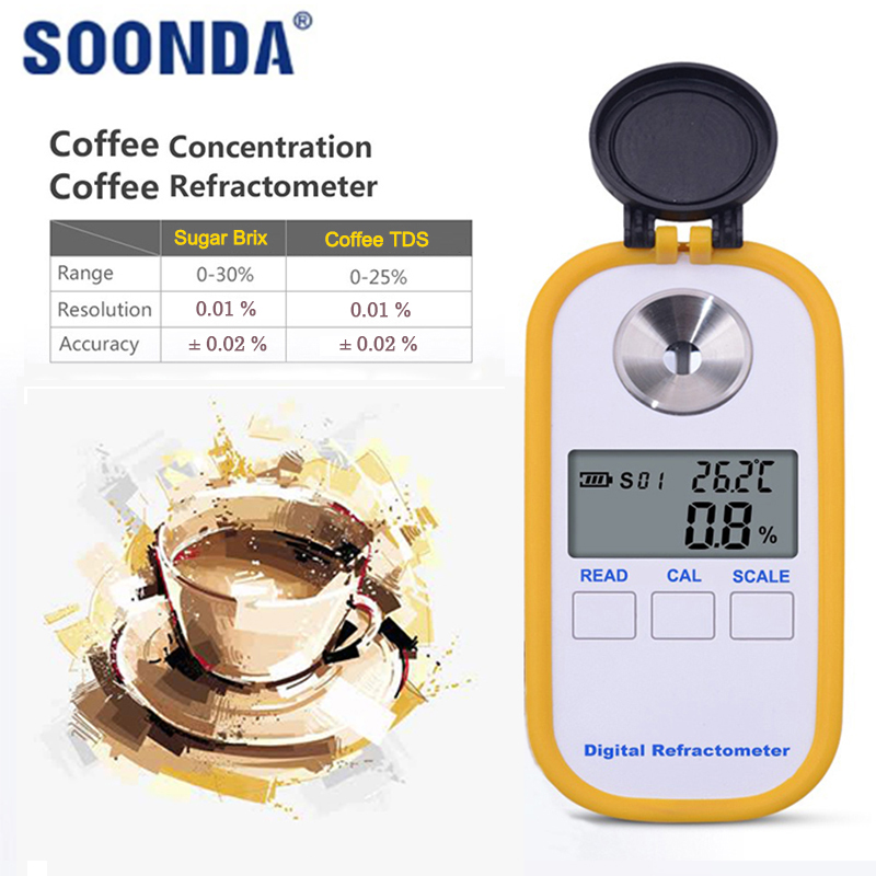 Auto 2 in 1 Coffee Brix TDS Concentration Meter Tester Detector Refractometer Hydrometer High Precision Digital Display Measure