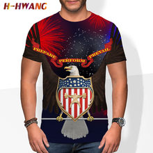 England Style Fancy 3D Tshirt Short Sleeve T-shirt Eagle Design Bottom T Shirts Print Summer Rhinestone Men's Fashion Solid 2021