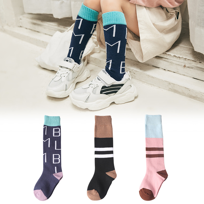 2-12 Years 3Pairs Pack Autumn Winter Warm Kids Stripe Cotton Sock Baby Boys Grils Knee Socks Kids Accessories