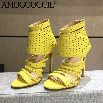 2020 New Plus Big Size 35-42 Yellow Zip Cut-Outs Fashion Sexy High Heel Spring Girl Female Lady Women Summer Sandals L1248