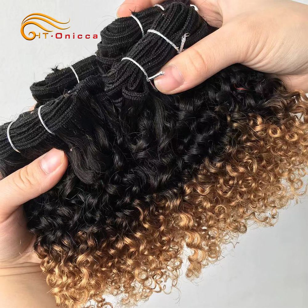 Curly Bundles With Closure Jerry Curl  Bundles and Closure 1B 27 30 99J Short Double Drawn  With Closure 4