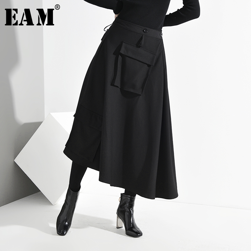 [EAM] High Elastic Waist Asymmetrical Big Pocket Split Big Half-body Skirt Women Fashion Tide New Spring Autumn 2020 1M09901