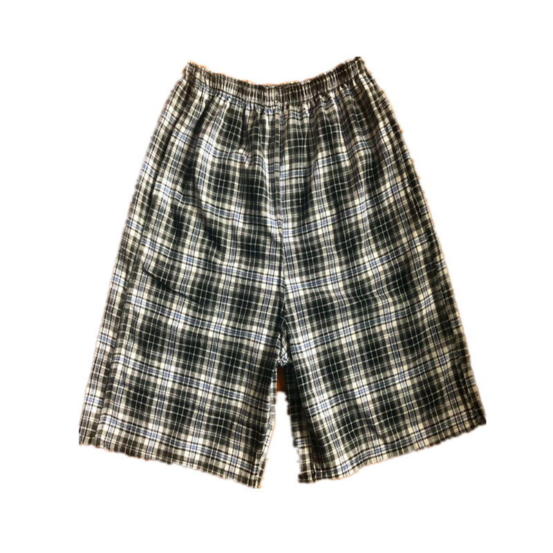 Beach Shorts Men's Short Casual Sports Europe And America Drifting Cotton Plaid Swimming Trunks Booth Goods