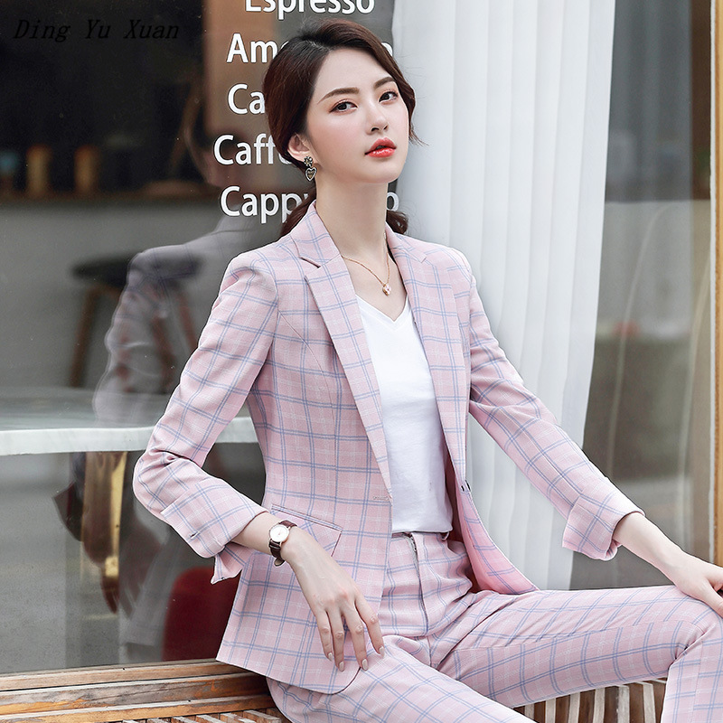 2020 Womens Formal Pants Suit for Work Women 2 Piece Office Suits Slim Blazer with Pants Elegant Pink Grey Plaid Pantsuit Woman