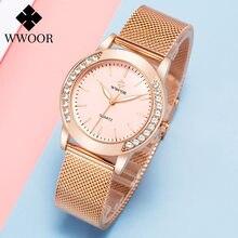 Wwoor роскошные женские часы браслет с кристаллами Лидирующий