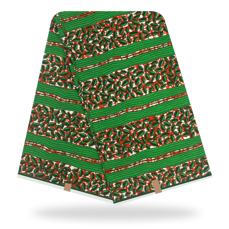 2020 Fashionable Dashikiage New African Ankara Real Dutch Wax Fabric 100% Cotton Green Floral Wax Print Fabric For Women Dress