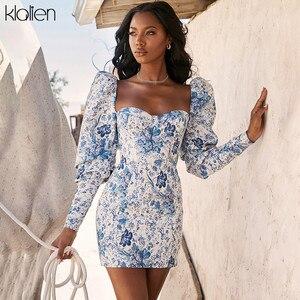 KLALIEN seksowny niebieski kwadratowy kołnierzyk wydruku z długim rękawem panie Skinny Mini sukienka 2019 jesienno-zimowa moda Slim głęboki dekolt Casual Dress