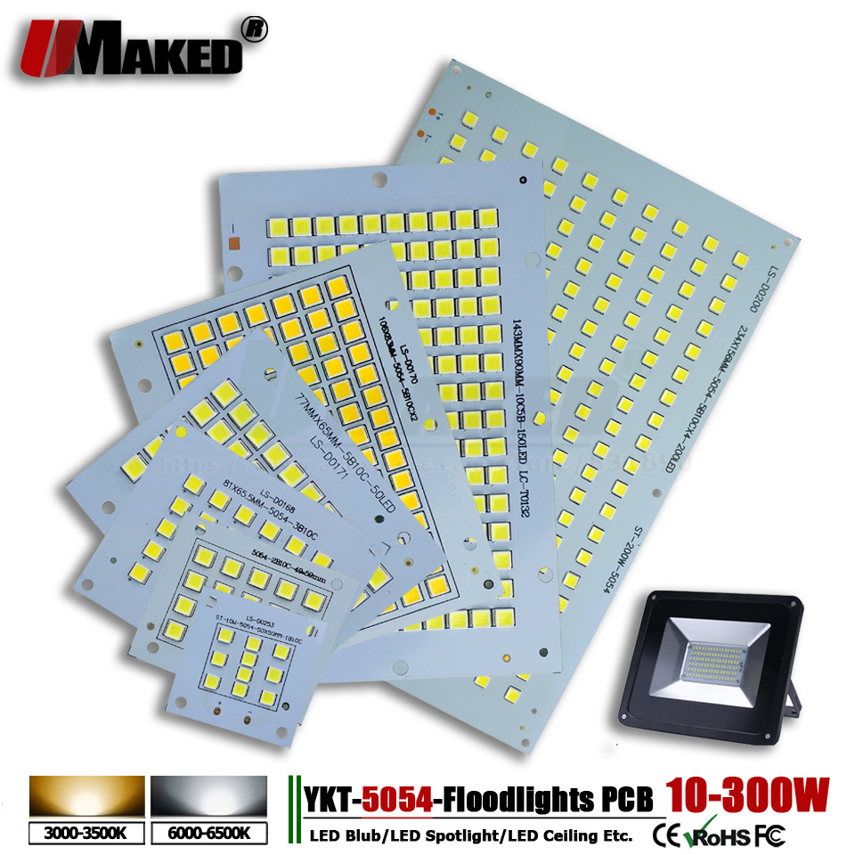 1pc LED PCB SMD5054 Install Flood Lights Aluminum Plate Led Heat Sink Borad 10-300W Light Panel For LED Outdoor Floodlight Lamp