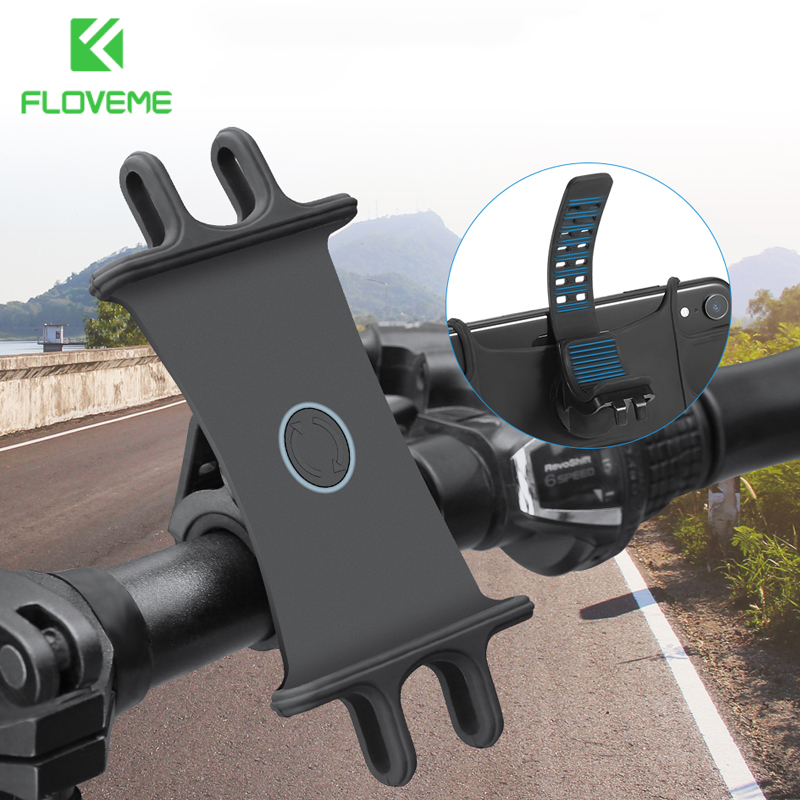 FLOVEME Silicone Bicycle Phone Holder Universal Mobile Cell Phone Holder Bike Handlebar GPS Bracket For IPhone Samsung Xiaomi