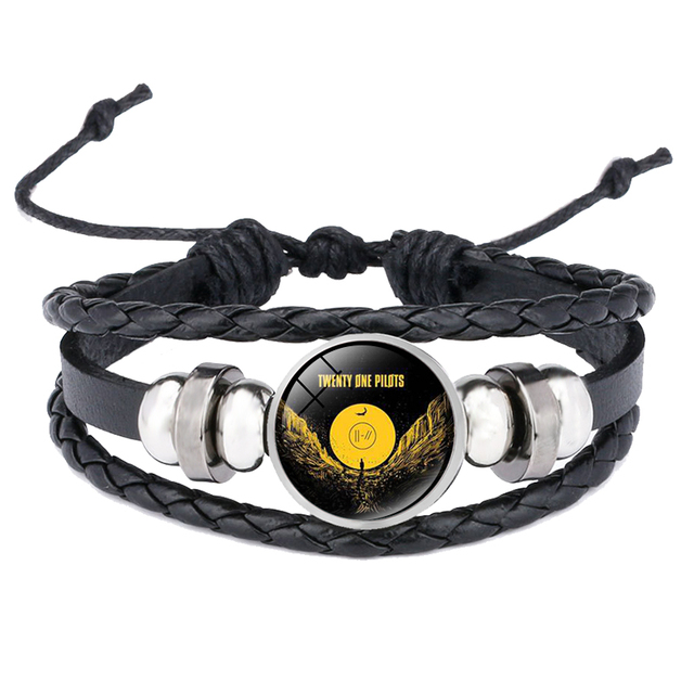 Twenty One Pilots pulsera de cuero banda de música Punk señal de cristal cabujón Multi capas trenzado cordón para hombres mujeres