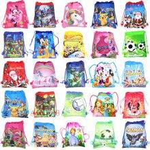 1 шт. сумка-мешок с мультяшными человек паук, Марио школьный рюкзак для мальчика, для девочек с единорогом сумка комплект рюкзак