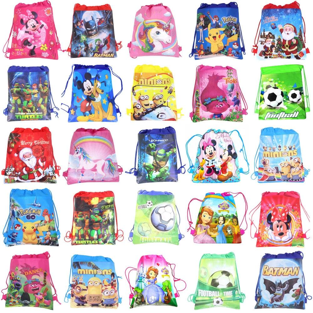 1pc Cartoon Drawstring Bag Spider Man,Mario School Backpack For Boy ,Girls Unicorn Satchel Bundle Rucksack