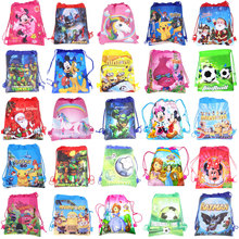 цена на 1pc Cartoon Drawstring Bag Spider Man,Mario School Backpack for Boy ,Girls Unicorn Satchel Bundle Rucksack