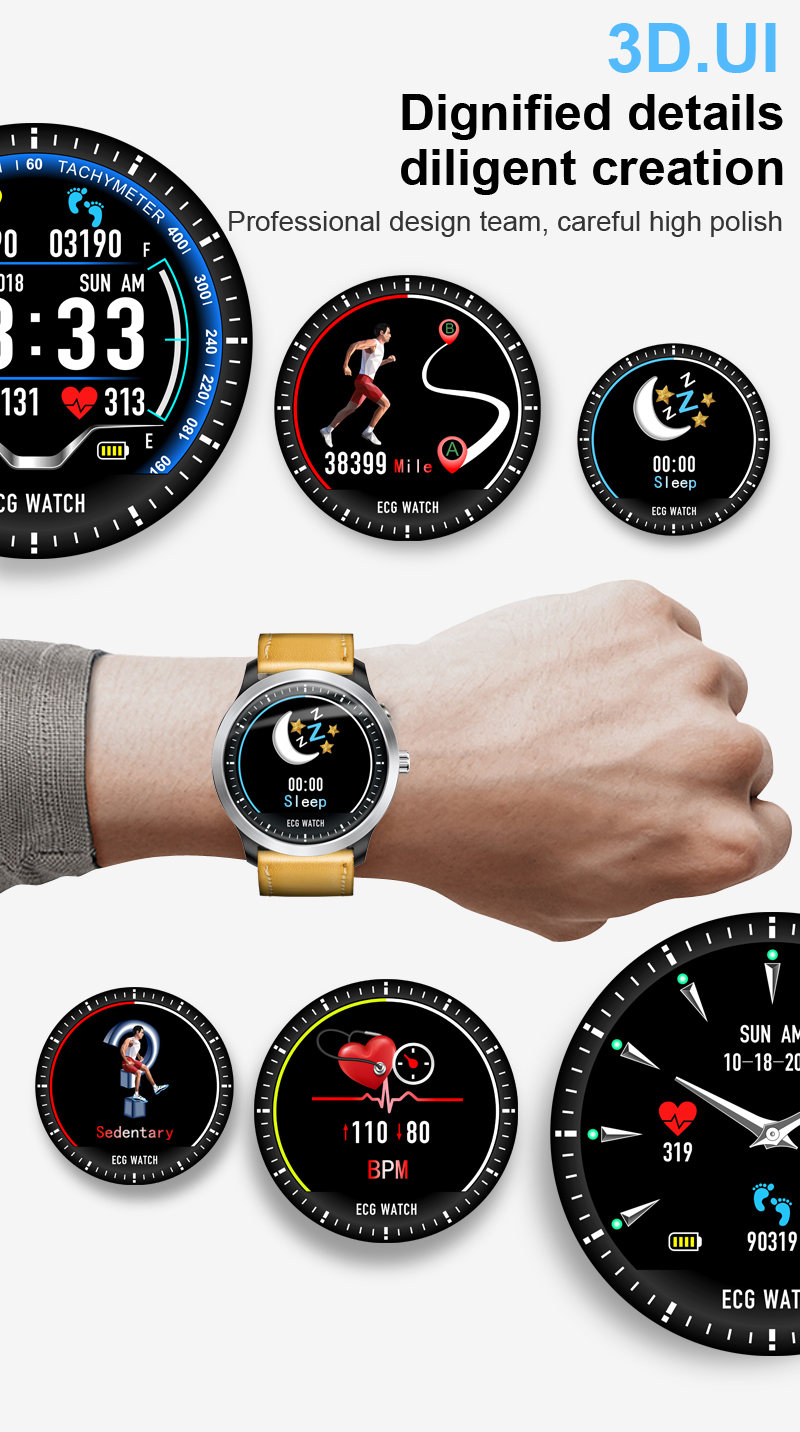 LEMFO 2019 New ECG + PPG Smart Watch Men IP67 Waterproof Sport Watch Heart Rate Monitor Blood Pressure Smartwatch For The Aged