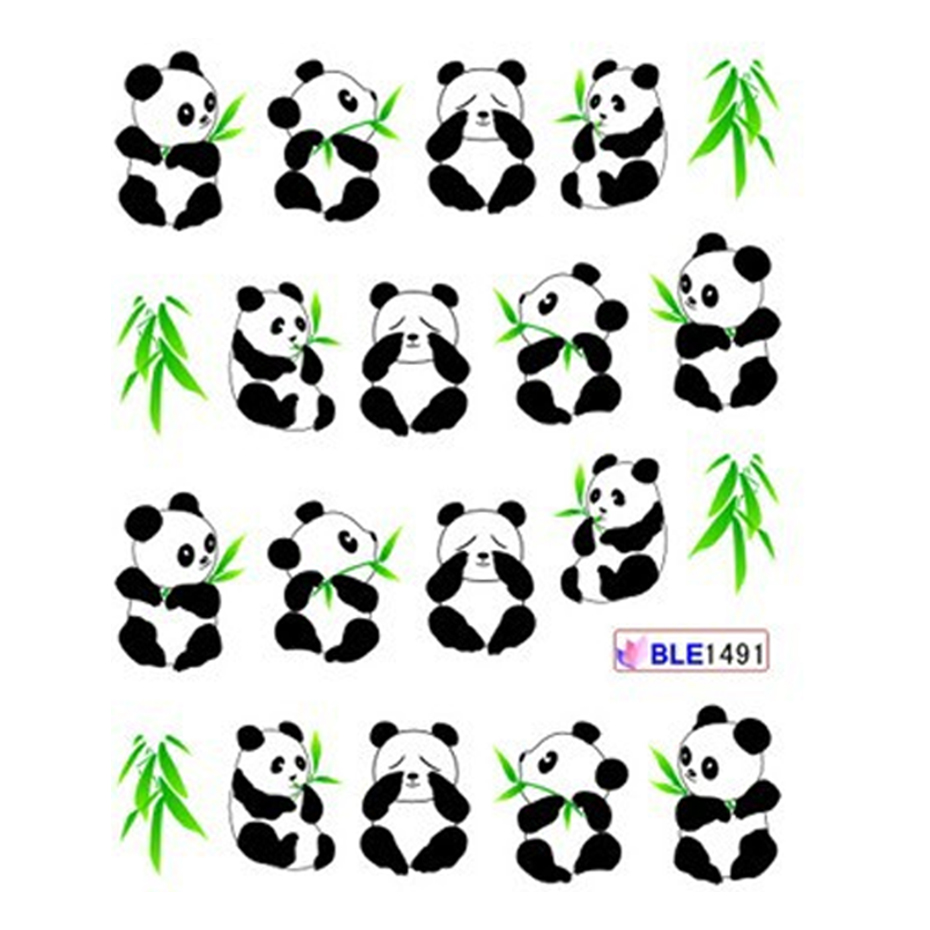 Image 2 - 11 Designs Cute Panda Pattern Stickers On Nails Black Cat Water Tattoo Slider Nail Art Decoration Full Wrap Tips BEBLE1489 1499-in Stickers & Decals from Beauty & Health