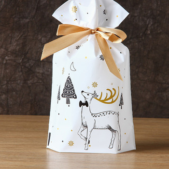 10pcs Santa Gift Bag Candy Snowflake Crisp Drawstring Merry Christmas Decorations for Home New Year 2021 Presents - discount item  25% OFF Festive & Party Supplies