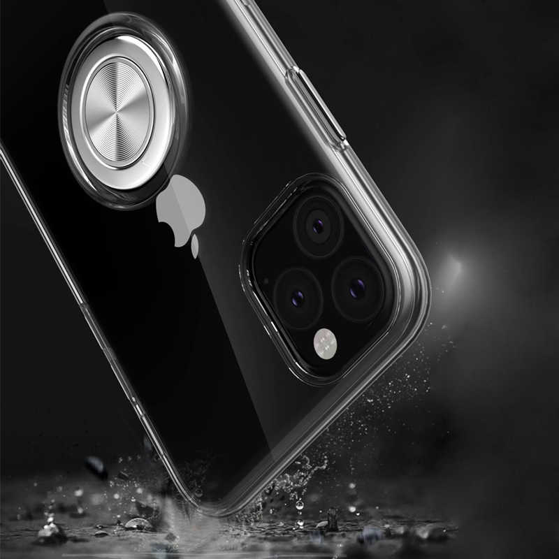 Dla iPhone 11 XR XS Max uchwyt na palec stojak tylna pokrywa magnes przezroczyste etui dla iPhone XR XS Max 11 7 8 6s Plus Coque