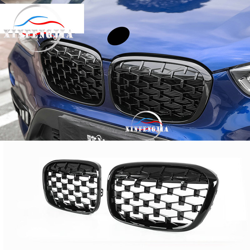 For BMW X1 F48 16-19 2PCS Front Star Network Radiator Grille Air Grille Kidney Grille Set Decorate