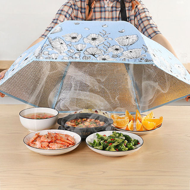 70/80 Cm Household Folding Dining Table Cover Insulation Dish Covers Winter Dust-Proof Insulation Leftover Food Kitchen Supplies 2