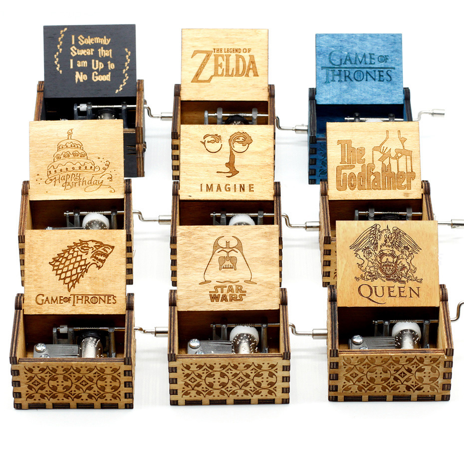 Wood Hand Cranked Music Box juego de tronos Game of Thrones La Vie En Rose Digimon Cool Gifts Birthday Star Wars Theme Music image