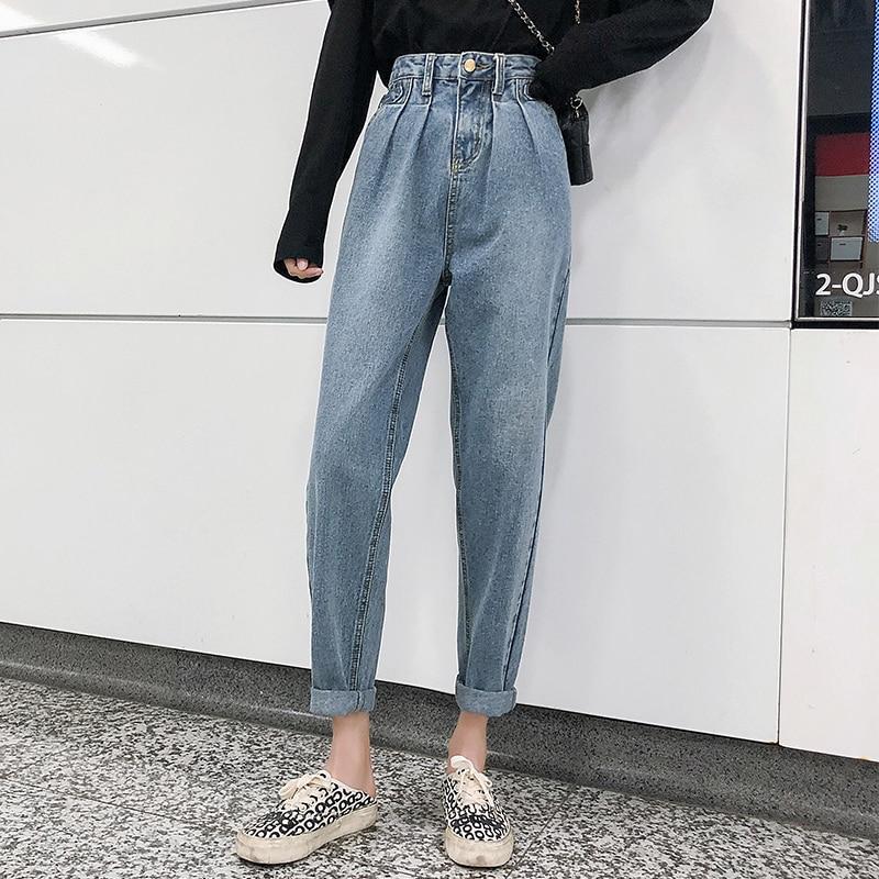 Pantalones De Mujer Vaquero Jeansy Damskie Wysoki Stan Plus Size Hiigh Waist Jeans Woman Denim Pants Harem Trousers Casual New