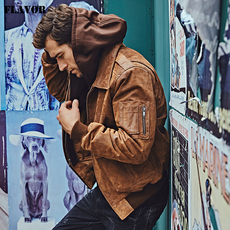 FLAVOR New Men s Genuine Leather Bomber Jackets Removable Hood Men Air Forca Aviator winter coat FLAVOR New Men's Genuine Leather Bomber Jackets Removable Hood Men Air Forca Aviator winter coat Men Warm Real Leather Jacket