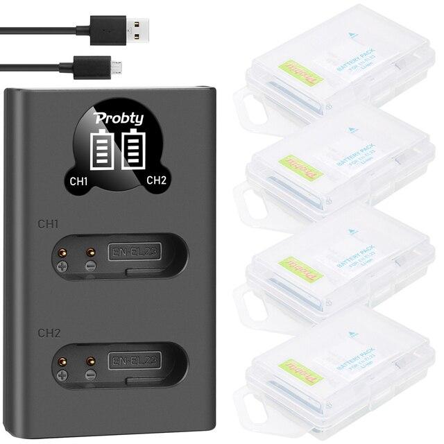 NEW 1850mah For Nikon EN EL23 EN EL23 Battery + Dual Charger for Compatible with Nikon Coolpix P600 P610  B700 P900 S810c