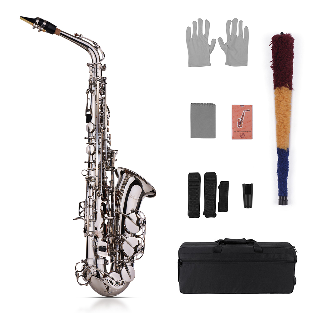 Muslady 802 Key Type Saxophone Kit Eb Alto Tone Brass Sax Acoustic Woodwind Instrument Saxophone with Strap Mouthpiece Gloves