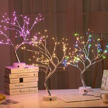 Lámpara LED de mesa con alambre de cobre para decoración del hogar, luz de noche de árbol de fuego de Navidad para dormitorio de niños, 108 lámpara de mesa por USB
