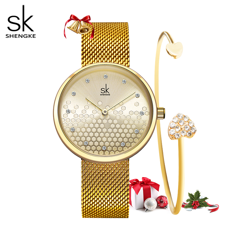 Shengke Gold Luxury Women Watch Top Brand Ladies Watches 2019 Quartz Waterproof Women's Wristwatch Zegarek Damski Clock Gifts
