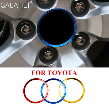 4 Pcs Car Wheel Decoration Ring Hub Decoration Circle For Toyota 15 16 17 Avensis Auris Hilux Corolla Camry RAV4 Accessories image