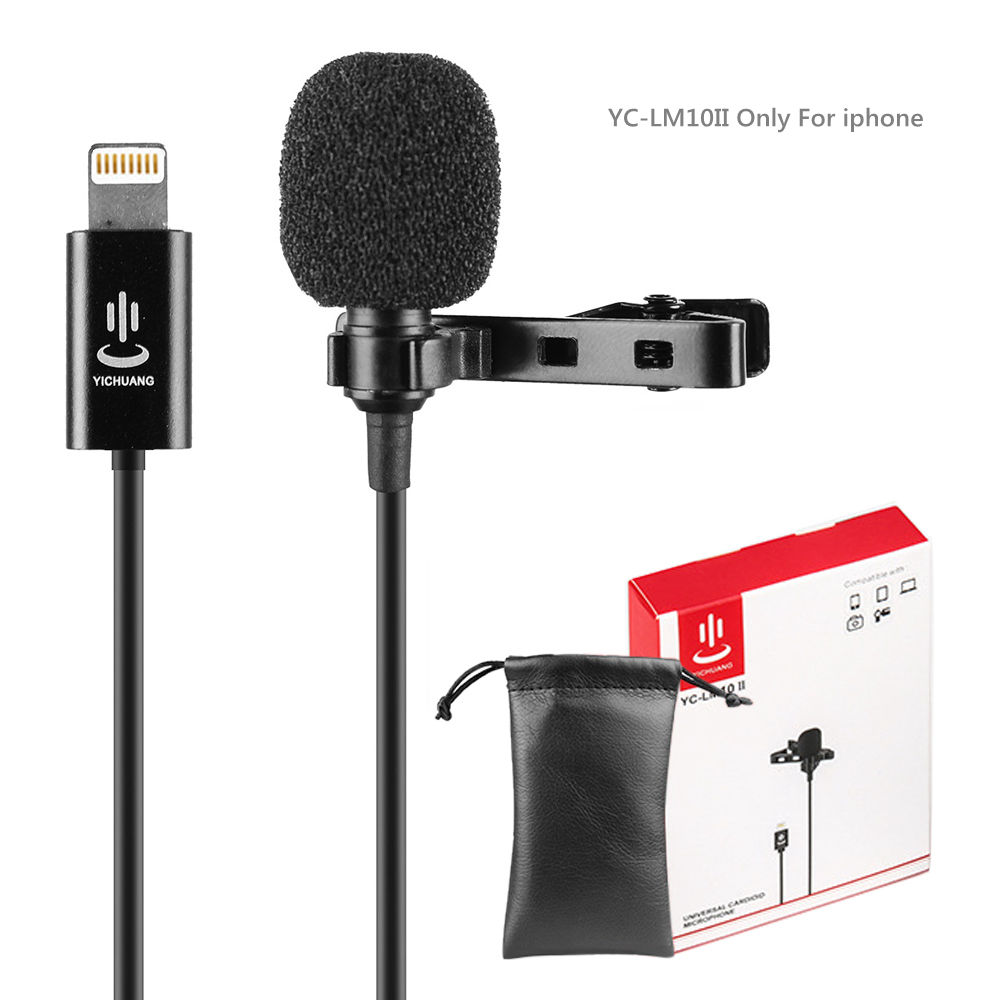 YC-LM10 II 1.5m Cable Microphone Microfone Audio Video MIC Recording Lavalier Condenser Microphone For IPhone X 8 7 6 Plus