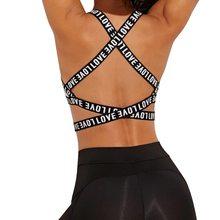 Sujetador deportivo con letras para mujer, ropa interior deportiva con realce, copa negra y blanca, para correr, Yoga, gimnasio