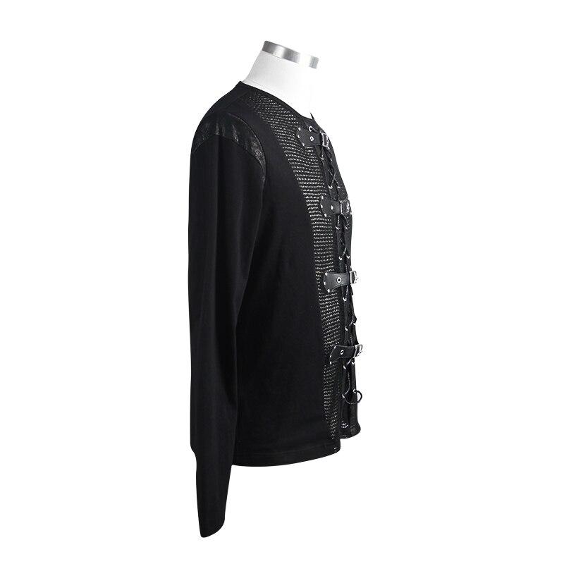 Devil Fashion Men Tops Hot Sale Rock Punk Buckle Mesh Long Sleeve T Shirt Men Vest - 5