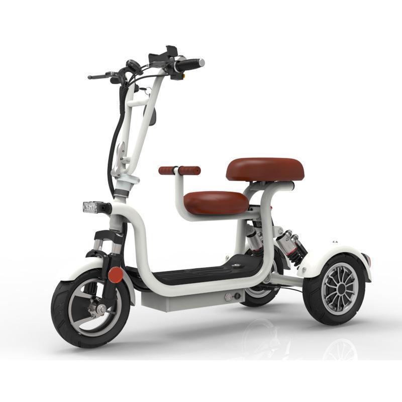 Neue Elektrische Dreirad 3 Rad Elektrische Fahrrad 10 Zoll 400W 48V 60KM Tragbare Eltern Kind Elektrische Roller