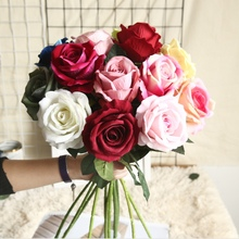 Artificial flowers cheap wedding decorative flowers wall fake roses bouquet vases for home decoration accessories Table setting 9 heads silk roses bouquet fake leaf wedding home party vases for new year decoration european fall cheap artificial flowers