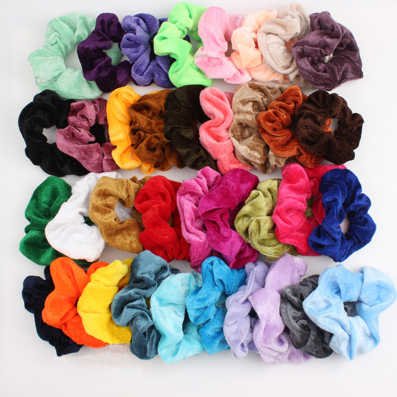 36 Colors Velvet Scrunchie For Women Girls Solid Elastic Hair Rubber Bands Accessories Ponytail Holder Hair Ties Hair Ring Rope