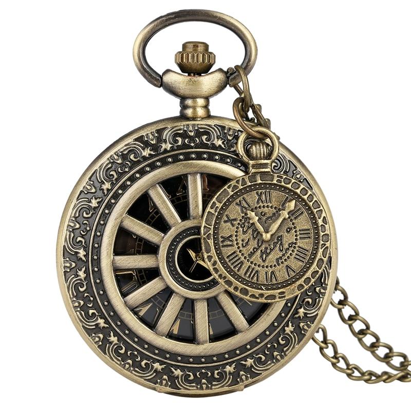 Bronze Hollow Wheel Gear Case Quartz Pocket Watch Retro Roman Numeral Dial Men Women Necklace Pendant Chain Clock With Accessory