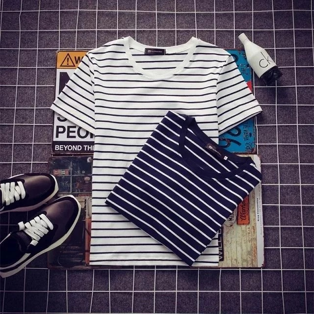 New Style Summer Wear Stripes T-<font><b>shirt</b></font> <font><b>Men's</b></font> <font><b>Slim</b></font> <font><b>Fit</b></font> Short-sleeved T-<font><b>shirt</b></font> <font><b>Lin</b></font> Curved Korean-style Store Owner-Style Stripes <font><b>Men</b></font> image