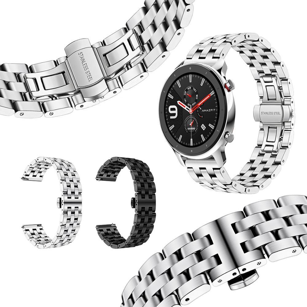 Металлический ремешок для часов Huami Amazfit GTR 47 мм, браслет из нержавеющей стали для Amazfit GTR 42 мм, сменный спортивный браслет