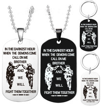 цена на Hot-selling stainless steel tag custom-made gifts for comrades military brand necklace key chain jewelry dog tags custom