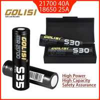 2 pces golisi s35 imr 21700 3750 mah s30 18650 3000 mah 40a alta capacidade protegido bateria li-ion recarregável superior plana