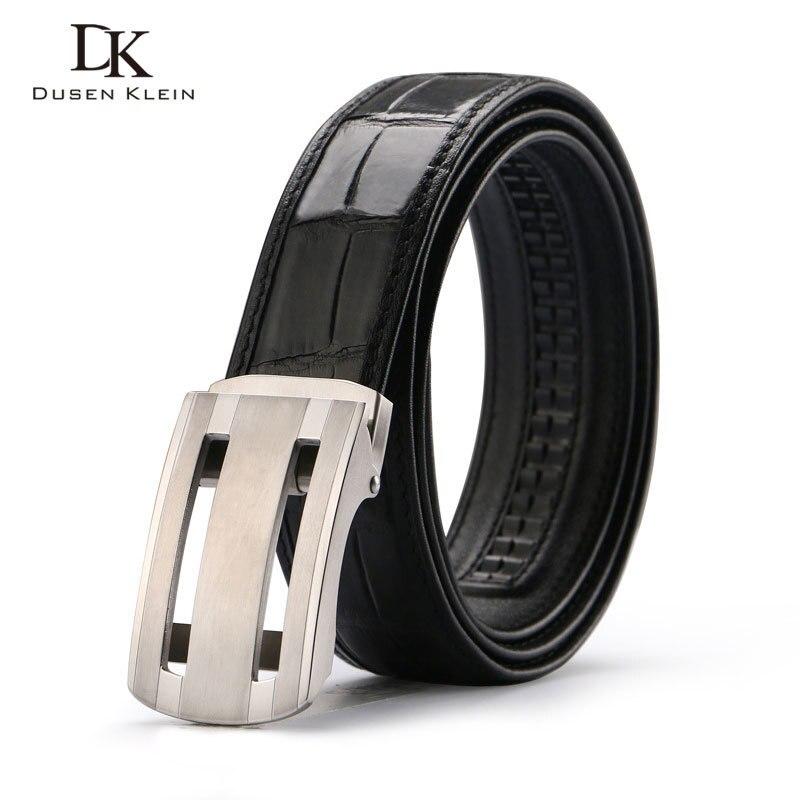 Nuevo cinturón de cocodrilo genuino cinturón de hebilla de acero inoxidable para hombre de negocios casual cuero cocodrilo cintura negro/marrón Correa E318 - 4