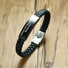 Men's Personalised Leather Bracelet Men's Engraved Black Braided Wrap Wristband Boyfriend Gifts 8.5inch(China)