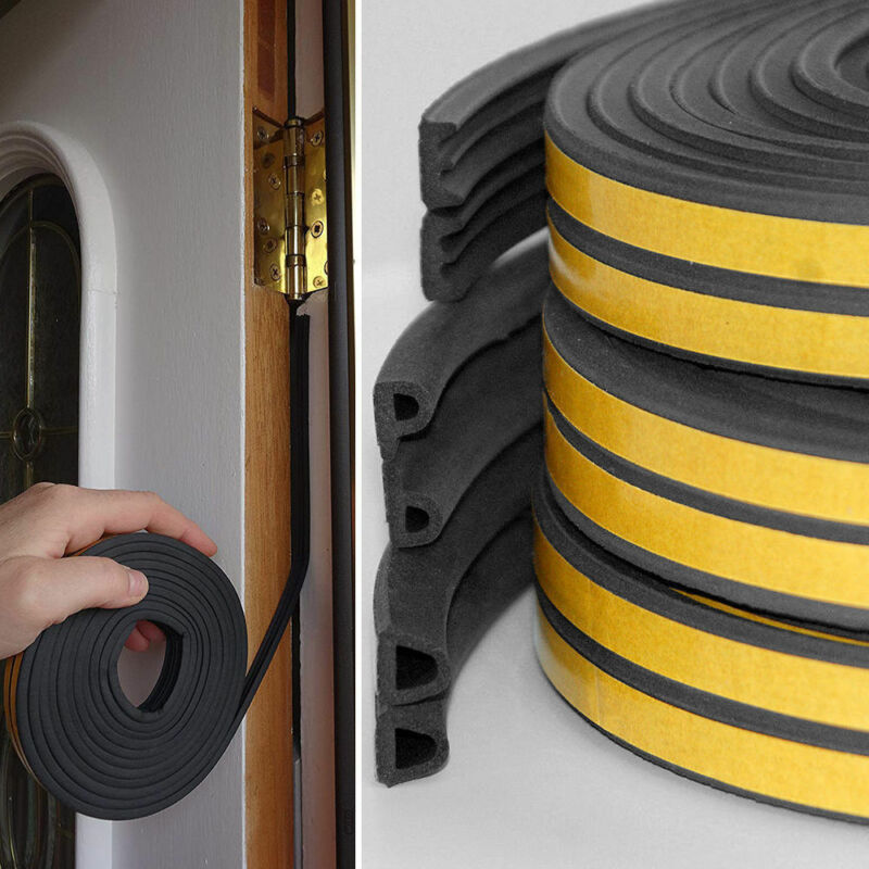 5m Self-Adhesive D Type Doors Windows Foam Seal Strip Soundproofing Collision Avoidance Rubber Sealing Strips Sticker