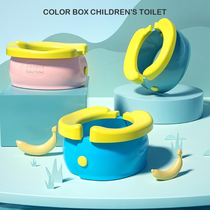 Portable Travel Baby Potty Training Seat Banana Folding Infant Toilet Urinal Chamber Pots With Poop Garbag Bag